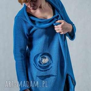 Sweter z aplikacją wełnianą, sweter, wełna, aplikacja, wełna-czesankowa