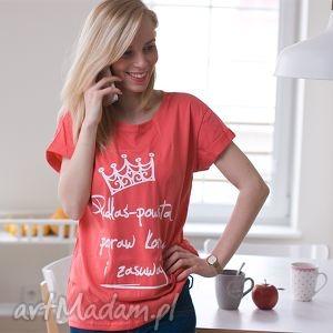 łososiowa koszulka modny damski top z napisem nadrukiem padłaś powstań