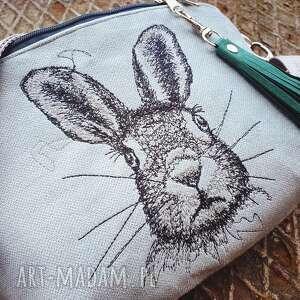 nerka xxl zając, z królikiem, torebka pastelowa, leśna saszetka