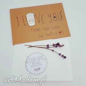 eko kartka z suszonym kwiatem, kawa, coffee, kartka, okolicznościowa, urodzinowa