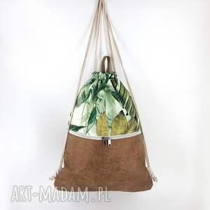 luci and love plecak w liście i beżową ekoskórę 45cm, liście, roślinna