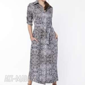 Długa Sukienka, SUK159 wąż, długa, maxi, print, wąż
