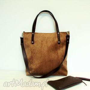 shopper bag, bązowa, torba, modna, klasyczna, uniwersalna, szyta torebki