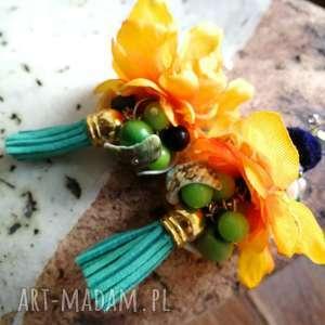handmade klipsy etno boho pompony kwiatowe szaleństwo