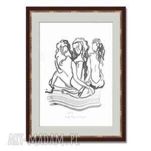 grafika czarno biała trzy kobiety a3, elegancki minimalizm, grafiki na ścianę