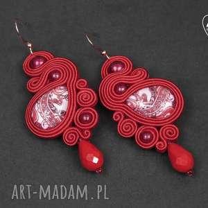 mela kolczyki sutasz magile 7,3cm czerwień - kolczyki, sutasz, soutache, grafika