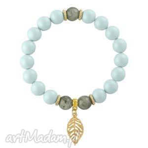 pearly chic - light blue & grey lavoga - labradoryt, perły, zawieszka