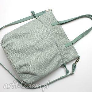 na ramię shopper bag sack - tkanina miętowa, jodełka, shopper, hobo, sack, wakacje