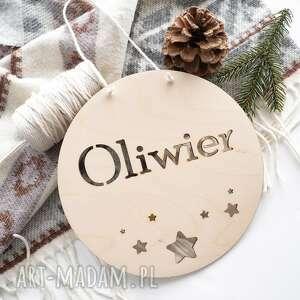 ręcznie wykonane pokoik dziecka drewniana tabliczka z imieniem - gwiazdki
