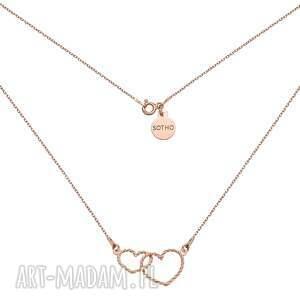 hand-made naszyjniki naszyjnik z dwoma sercami różowego złota