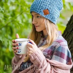 explorer galaxy blue czapka zima, z polarem ciepła, wełniana, z pomponem