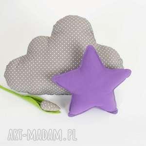 zestaw 2 poduch fioletowo-szary, chmurka, gwiazdka, fioletowa poduszka