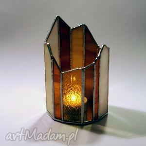 lampion witrażowy grawerowany, lampion, witraż, świecznik