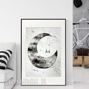 grafika 50X70 cm wykonana ręcznie, abstrakcja, elegancki minimalizm, obraz do salonu