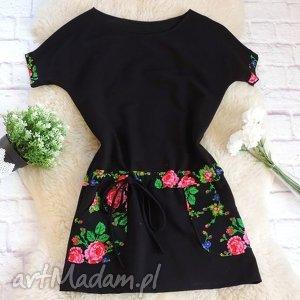 Dresowa sukienka w stylu folk kwiaty, sukienka, folkowa, folk, góralska, cleo