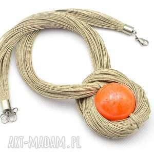 naszyjniki naszyjnik z pomarańczową kulą, lniany, pomarańczowy