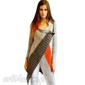 sweter w asymetryczne pasy, jesień, zima, sweter, asymetryczny, długi
