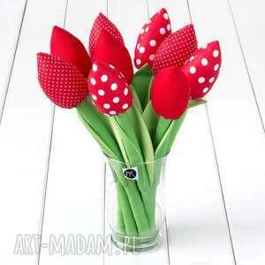 Tulipany czerwony bawełniany bukiet dekoracje myk studio bukiet