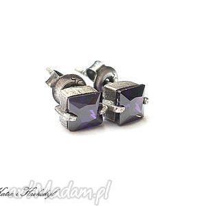 cubist s fiołki - kolczyki, srebro, cyrkonie, sztyfty, drobne, delikatne