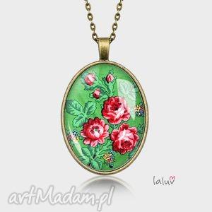medalion owalny green roses - ludowe, kwiaty, prezent, kolorowe, folk, etniczne