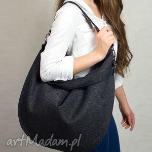 Workowata torba w kolorze złamanej czerni z grubo plecionej tkaniny, torba, worek