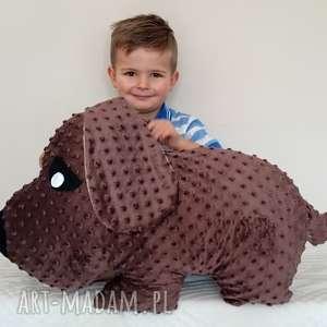 ręcznie zrobione maskotki poduszka dziecięca pies brązowy