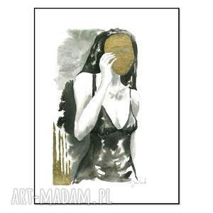 grafika z cyklu uwikłane w emocje 30 x 40cm, ręcznie malowane, kobieta