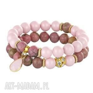 Pearly chic - pink lavoga rodonit, swarovski, perły,