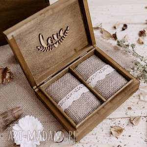 Rustykalne pudełko na obrączki, pudełko, jutowe, poduszeczki, drewniane,