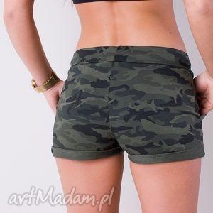 militarne krótkie spodenki styl moro khaki szorty, fajne, spodenki