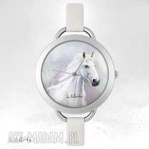 zegarek, bransoletka - biały koń, bransoletka, skórzana, unikatowy