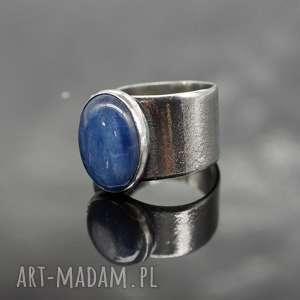 Zalee srebrny pierścionek z kyanitem, pierścionek, kyanit, kianit, regulowany