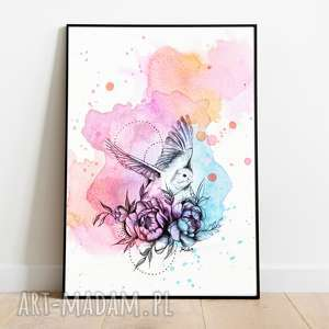 Kolorowy ptak plakat a3 grafika do domu plakaty studio d ptak