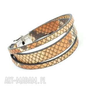 handmade stal szlachetna skóra wzorek wąż