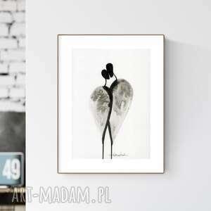 grafika a4 wykonana ręcznie, abstrakcja, obraz do salonu, czarno-biała