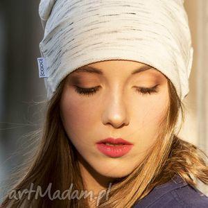 hand-made czapki wygodna bawełniana czapka z kremowego melanżu