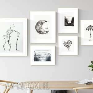 Zestaw 6 grafik wykonanych ręcznie, do salonu, 2604927 art