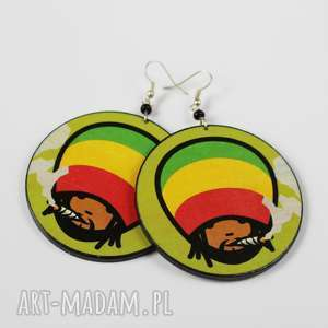 duże kolczyki decoupage reggae, kolczyki, decoupage