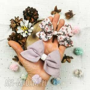 ozdoby do włosów lila z kwiatami, kokardy, kokardka włosów, kokardka, spinka