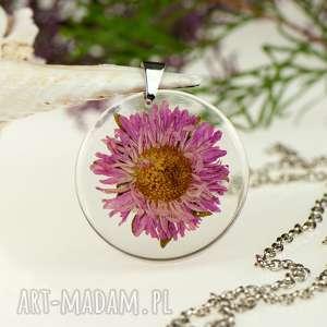 z1316 naszyjnik z prawdziwym kwiatem-5cm - naszyjnik z kwiatem, biżuteria z