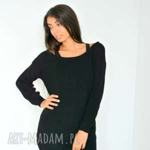 szeroki czarny sweter tunika oversize, dzianina, włóczka, sweter, swterek,