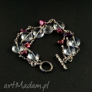 perły i ametystowe lusterka, srebro, bransoeltka, kwarc,