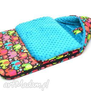 handmade dla dziecka milutka śpiworek do wózka minky 120 cm uniwersalny słoniki