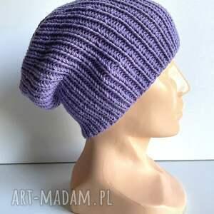 czapka robiona ręcznie hand made ściągacz 100 baby merino 14 fioletowy