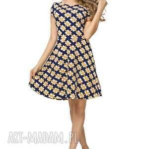 sukienka rozkloszowana t183, wzór w romby, sukienka, rozkloszowana, wzór