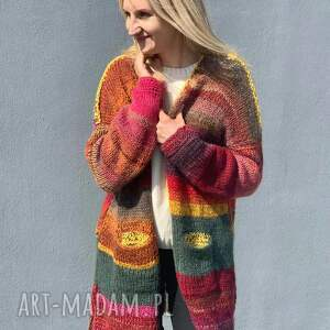 multikolor sweter, kardigan, kolorowy na drutach, ciepły sweter