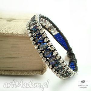 Cyrkonie z błękitami, cyrkonie, kryształki, szkło, rzemień