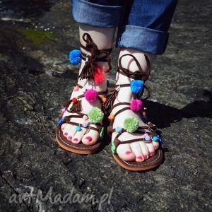 kolorowe rzymianki zdobione ręcznie, rzymianki, sandały, greckie