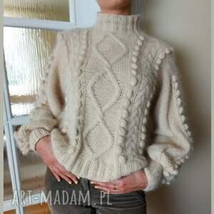 soie kaszmirowy sweter z węzłami, sweter, ciepły elegancki