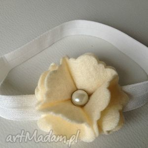 dla dziecka opaska niemowlęca - kremowa perła, prezent, chrzest, roczek, sesja